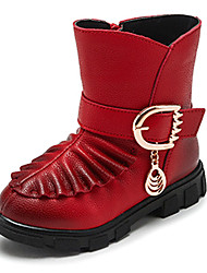 Girl's Heels Fall Winter Fashion Boots PU Wedding Casual Flat Heel Buckle Black Pink Red Walking