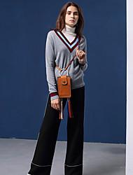 Damen Standard Pullover-Ausgehen Einfach Patchwork Grau V-Ausschnitt Langarm Baumwolle / Kunstseide Herbst Mittel Mikro-elastisch