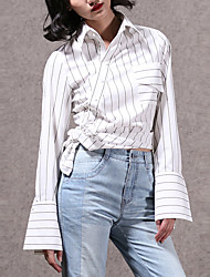 CHOCOLATONE Women's Casual/Daily Simple Spring / Fall ShirtStriped Stand Long Sleeve White Cotton Medium