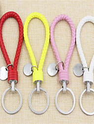 Women 'S Braided Leather Rope Key Chain Car Metal Hand - Rolled Edge Key Chain