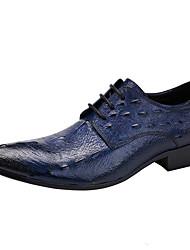 Men's Oxfords Brogue Crocodile Genuine Leather Wedding/Office&Career/Party&Evening/Casual Flat Heel
