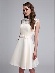 2017 lanting bride® mini court dentelle / satin élégante robe / demoiselle d'honneur - une ligne bijou avec un arc (s)