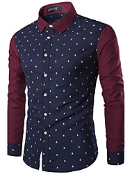 Men's Casual/Daily Simple Shirt,Color Block Square Neck Long Sleeve Blue / White Cotton