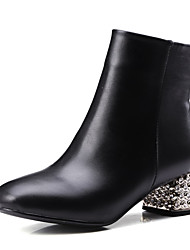 Women's Round Closed Toe Low Heels Low Top Solid Boots