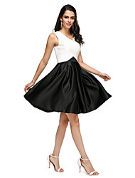 TS Couture Cocktail Party Prom Dress - Little Black Dress A-line V-neck Knee-length Stretch Satin with Pockets Criss Cross