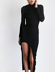 Women's Casual/Daily Simple Sheath Dress,Solid Strap Above Knee Sleeveless Red / Black Cotton Fall High Rise Micro-elastic Medium