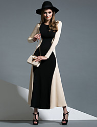 MASKED QUEEN Women's Going out Simple Sheath / Swing DressColor Block Maxi Long  Cotton Fall / Winter