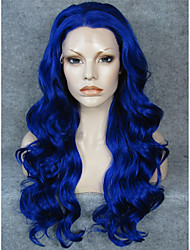 IMSTYLE 24''Affordable High Quality Blue Long Wave Synthetic Wig Lace Front