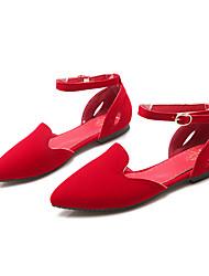 Damen-Sandalen-Kleid / Lässig / Party & Festivität-Vlies-Flacher Absatz-Ballerina / D'Orsay und Zweiteiler-Schwarz / Blau / Rot