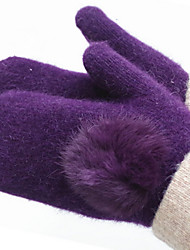 Ms Wool In Winter To Keep Warm Gloves (Purple Rabbit Hair Ball Gloves)