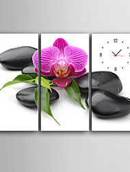 E-HOME® Black Stones And Purple Flowers Clock in Canvas 3pcs