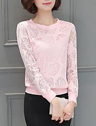 Tee-shirt Femme,Couleur Pleine Décontracté / Quotidien simple Printemps / Automne Manches Longues Col Arrondi Rose / Blanc / NoirCoton /