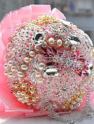 Fleurs de mariage Rond Roses Bouquets Mariage Fleur séchée Strass 49cm