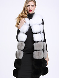 BF-Fur Style   Women's Casual/Daily Sophisticated Fur CoatColor Block Round Neck Sleeveless Winter White / Green Fox Fur