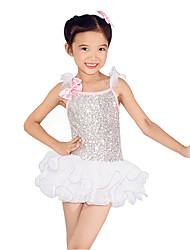 Dresses Performance Spandex / Paillettes / Sequins / Tassel(s) 5 Pieces Latin Dance Sleeveless NaturalDress /