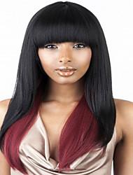 style de mode longue vague droite ombre perruques couleur synthétique noir et rouge pour les femmes