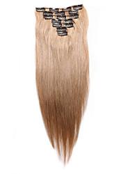 7 pièces / set clip dans les extensions de cheveux blonds fraise 14inch 18inch cheveux 100% pour les femmes