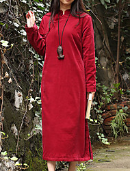 Ample Robe Femme Décontracté / Quotidien Chinoiserie,Couleur Pleine Mao Midi Manches Longues Rouge Coton Printemps / AutomneTaille
