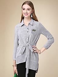 DOF Women's Casual/Daily Simple Fall ShirtStriped Shirt Collar Long Sleeve Black Cotton Medium
