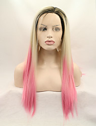 Sylvia Synthetic Lace front Wig Black Roots Blonde Pink Three Tones Hair Ombre Hair Heat Resistant Long Straight Synthetic Wigs