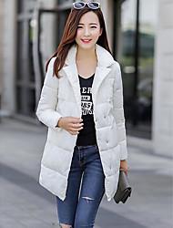 Manteau Rembourré Femme,Normal simple Sortie Couleur Pleine-Polyester Polyester Manches Longues Rose / Rouge / Blanc / Gris / Orange