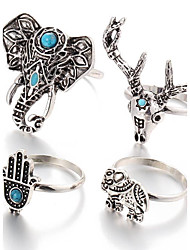 Ring Turquoise Daily / Casual Jewelry Alloy Women / Men Midi Rings 1set,One Size Silver