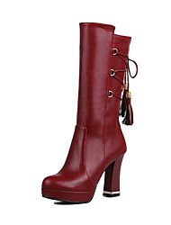 Women's High-Heels Solid Closed Round Toe Soft Material Pull-on Boots