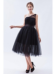 Tea-length One Shoulder Bridesmaid Dress - Little Black Dress Sleeveless Tulle