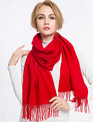 Women Vintage Casual Classic red wool pure color autumn and winter  long tassel scarf