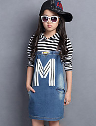 Girl's Casual/Daily Striped Dress / Jeans / Clothing SetOthers Summer Blue