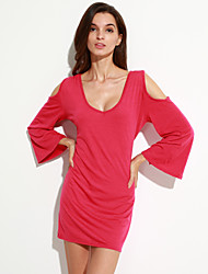 Women's Casual/Daily Sophisticated Sheath Dress,Solid V Neck Mini / Above Knee Long Sleeve Red / Black Polyester Summer