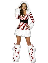 New Stripe Women Long Sleeve Father Christmas Costumes Adult Women Cute Santa Claus Costumes For  Role Play Santa Claus Costume
