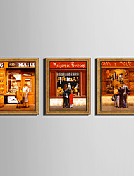 E-HOME® Framed Canvas Art, People in Front of The Window Framed Canvas Print Set of 3
