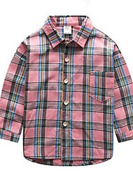 Boy Casual/Daily Plaid Blouse,Cotton Spring / Fall Long Sleeve Short
