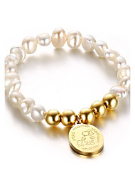 Women's Charm Bracelet Jewelry Party/Birthday/Daily/Casual Fashion Pearl Stainless Steel  Gold Plated Gold-Pink 1pc Gift