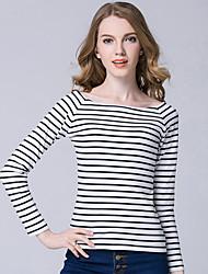 Damen Gestreift Einfach / Street Schick Lässig/Alltäglich T-shirt,Bateau Frühling / Herbst Langarm Blau / Rot / Weiß / Schwarz Polyester