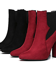 Women's Boots Winter Others Fabric / Glitter Party & Evening / Casual Chunky Heel Gore Black / Burgundy Others