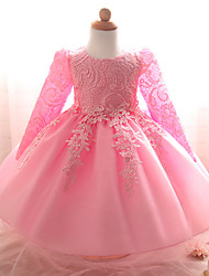 Ball Gown Knee-length Flower Girl Dress - Chiffon Lace Organza Satin Long Sleeve Jewel with Bow(s) Draping Embroidery Lace