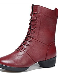 Non Customizable Women's Dance Shoes Leather Leather Modern / Dance Boots Boots / Split Sole Low Heel Outdoor Black / Red