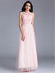Prom / Formal Evening / Holiday / Family Gathering Dress - Floral / See Through / Lace-up A-line Bateau Floor-length Tulle with Beading