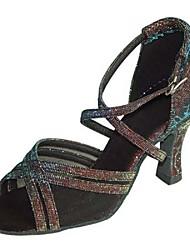Women's Ballroom Dance Shoes Satin / Sparkling Glitter Latin / Salsa Sandals / Heels Heel Customizable