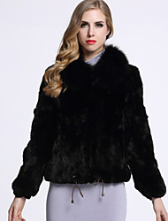 BF-Fur Style Women's Casual/Daily Sophisticated Fur CoatSolid Shirt Collar Long Sleeve Winter Black / Gray Rex Rabbit Fur