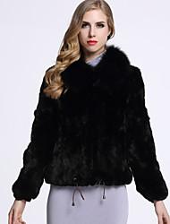Feminino Casaco de Pelo Casual Sofisticado Inverno,Sólido Preto / Cinza Pêlo de Coelho Rex Colarinho de Camisa-Manga Longa
