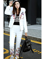 Women's Going out / Casual/Daily Simple Winter Set Pant Suits,Print Hooded Long Sleeve Blue / Pink / White / Black Polyester Thick