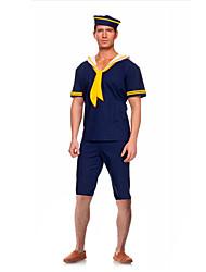 Costumes de Cosplay / Costume de Soirée Soldat/Guerrier Fête / Célébration Déguisement Halloween Blanc / Bleu ImpriméHaut / Chapeau /