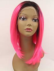 sylvia laço sintético frente peruca Black Roots cabelo rosa ombre comprimento médio resistente ao calor de cabelo perucas sintéticas retas