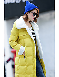 Women's Going out Simple / Cute Coat,Solid Hooded Long Sleeve Spring / Winter Black / Yellow Special Leather Types Thick