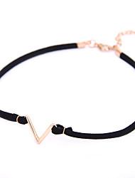 Punk Gothic Jewelry Basic Black Velvet V Symbol Tattoo Choker Necklace for Women Girls Teens  Golen Color