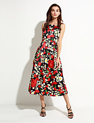 Women's Casual/Daily Simple / Street chic Sheath Dress,Floral Round Neck Midi Sleeveless Black Polyester Summer