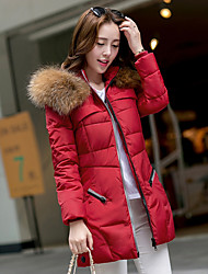 Women's Regular Down Coat,Simple Going out Solid-Polyester White Duck Down Long Sleeve Round Neck Red / Black / Green / Silver